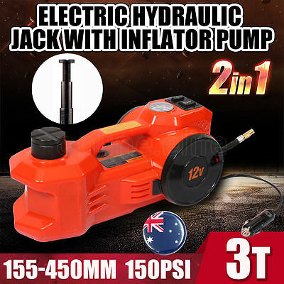 2017 3T Electric Hydraulic Jack with Inflator Pump Car Lift 155-450mm 150PSI 12V