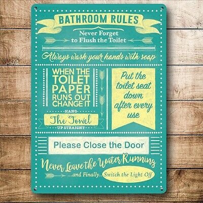 Retro Vintage Style Metal Sign Bathroom Rules Toilet Bar Pub Restaurant Decor