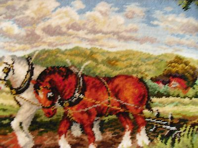 wall hanging tapestry rug thick farmer horses 1.30 x 0.70 mt vivid colors