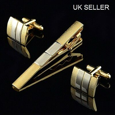 Mens Cufflinks and Tie Clip Set in Frosted Silver and Gold Plated