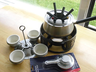 Complete Oil Fondue set heavy duty stainless steel France meat fish vegetables