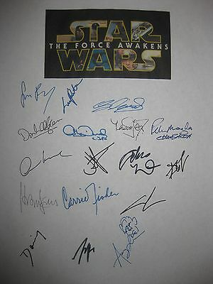 Star Wars The Force Awakens signed script X17 Lucas Ford Driver Carrie Fisher RP