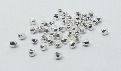 50 Pieces Bali Sterling Silver Facet Nugget Beads 2 mm Hexagon Shape