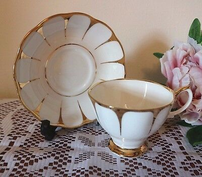 BEAUTIFUL ROYAL VALE Art Deco White & Gold Duo CUP AND SAUCER Tea Set