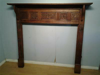 Good Victorian carved oak fireplace fire surround  aesthetic movement
