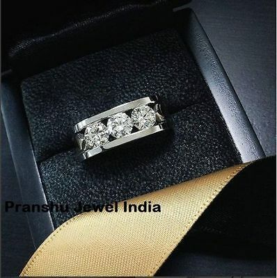 3.00 CT 3 Stone Off White Moissanite Engagement Man's Ring 925 Sterling Silver