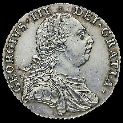 1787 George III Early Milled Silver Shilling, No Stops at Date, Scarce