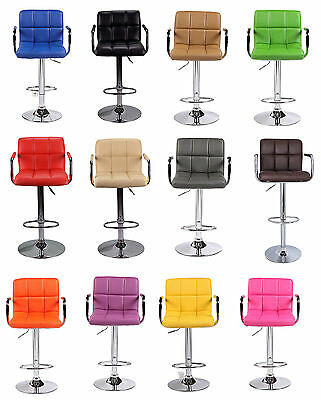 2 Breakfast Bar Kitchen Stools Faux Leather Swivel Dining Stool Chair Barstools