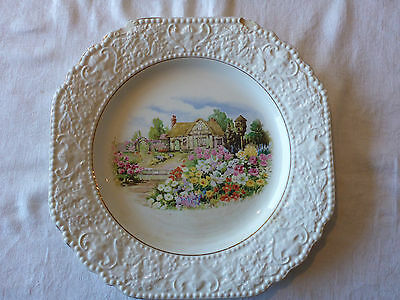 Elijah Cotton Lord Nelson Ware Cake Plate Cottage Garden Scene A/f