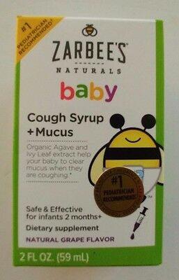New Zarbee's Naturals Baby Cough Syrup +Mucus Natural Grape Flavour 2 fl. oz.