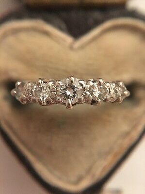 Vintage Five Stone Diamond Ring 18ct Yellow Gold And Platinum Bright Clean