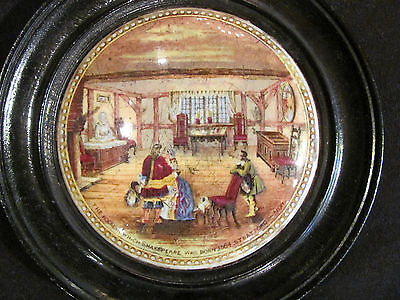Antique English Pot Lid Shakespeare's House 19th Century Framed