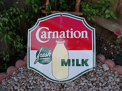 Vtg Original Porcelain Carnation Fresh Milk Sign 22 x 23 Inch Advertising Dairy