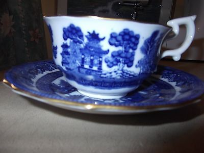 Spode Copeland O'Auld Lang Syne cup and saucer willow pattern