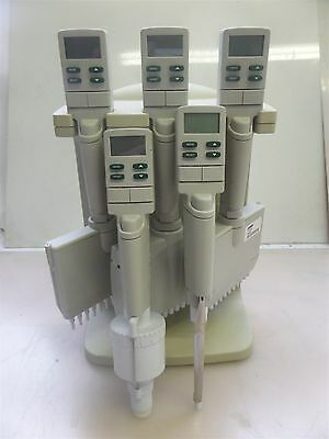 Lot of 5 Rainin EDP3 Plus Pipettes with E3 Charger Stand