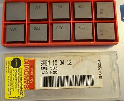 pack of 10 new SANDVIK Coromant SPE 533 SPEN 15 04 12  Carbide Inserts 320 K20