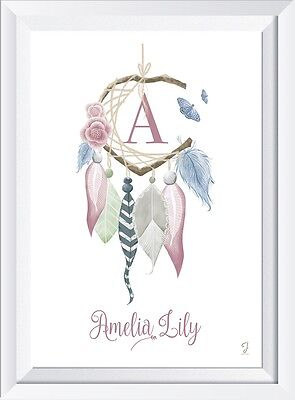 Personalised baby dreamcatcher name LASER PRINT gift christening