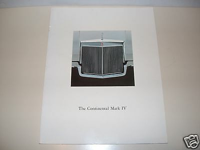 1972 Lincoln Continental Mark IV Brochure All Color