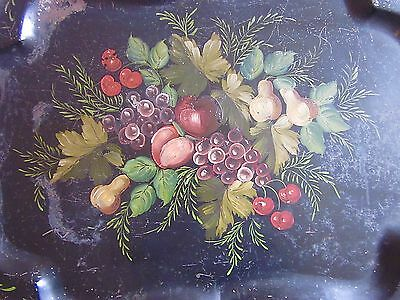 Tole Tray Antique Black Hand Painted Design 1800s New England Estate