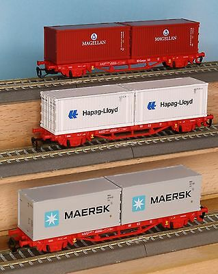 Piko 47711, 47718, 47720, Spur TT,  3-teiliges Containertragwagen Set, Ep. 5-6