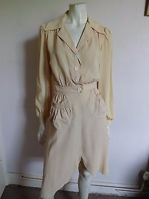 Vintage 70s THE YOUNG EDWARDIAN PRIVATE COLLECTION Crepe Blouse & Skirt Suit S