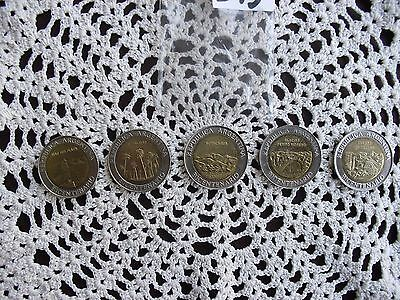 5 Argentinian coins year 2010 collectors hobby collection lot monedas bimetal