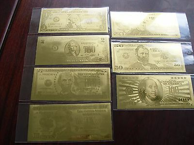 u$d fake gold 7 bills bank note collection ornament novelty money USA craft