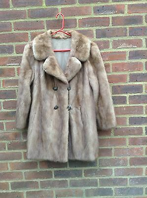 Vintage Pastel Real Mink Fur Coat Jacket Honey Brown M Furrier Made Quality Rare