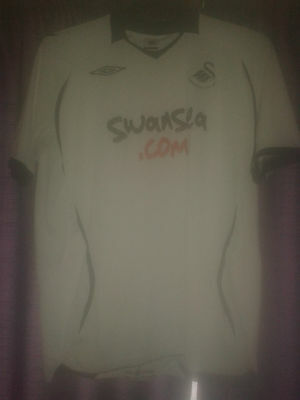 Mens Football Shirt - Swansea City AFC - Home 2008-09 - White - Umbro - Size L