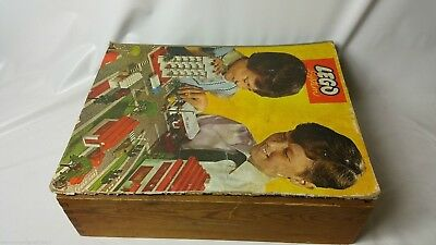 Vinage 1970s 70s Lego In Sliding Top Wooden Box