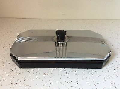 Vintage Black Onyx Glass Chrome Art Deco Dresser Box Trinket Box