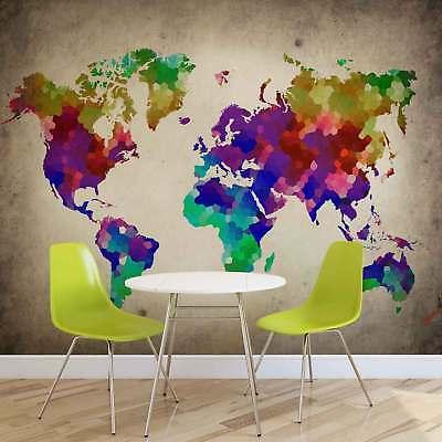 WALL MURAL PHOTO WALLPAPER XXL World Map Colorful (10009WS)