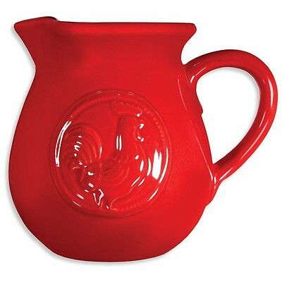 Decorative Ceramic Pitcher - Red Rooster - 3/4 Qt. - Country Kitchen Decor