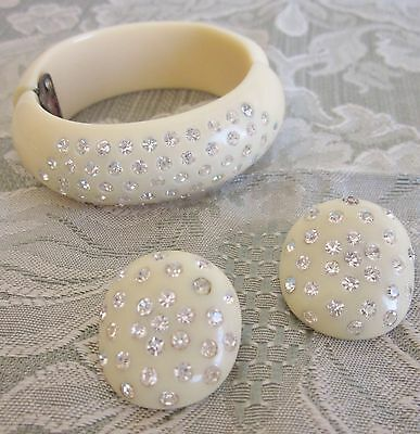 "Vtg. Bakelite Tested + Rhinestone Bracelet Earrings Set ""Custard"""