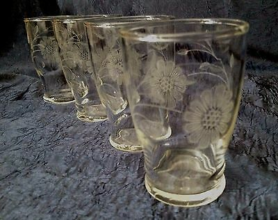 Vintage-Retro Dominion Glass; Set-of-4 Fired-ON White-Cornflower Juice Glasses