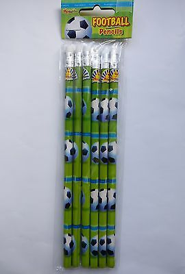 6 Football Pencils with Erasers, Party Bag Fillers/Novelty Gift *UK SELLER*