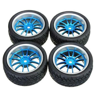 1:10 On Road Flat Racing RC Car Rubber Tires Wheels Tyres 12 Spoke Rims