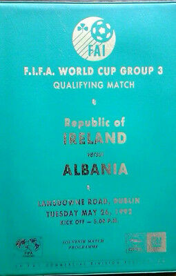 Republic Of Ireland V Albania 26/5/1992 World Cup Special Vip Programme