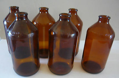 "Vintage brown 6"" stubby beer bottles - Lot of 6 all from the 1960's"