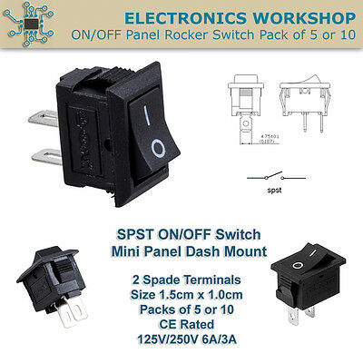 SPST ON OFF 2 Terminal Mini Panel Dash Mount Rocker Switch Black Pack of 5 or 10