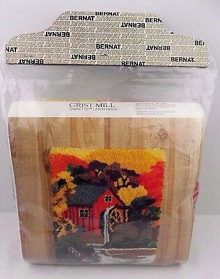 "Vintage Bernat Grist Water Mill Latch Hook Kit Rug Wall Hanging 20"" x 27"" New"