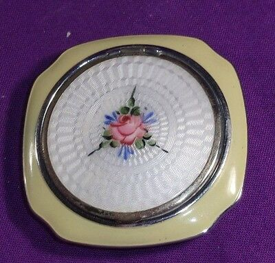 Vintage Guilloche Compact Ivory Enamel Pink Rose Top Opening Puff Included