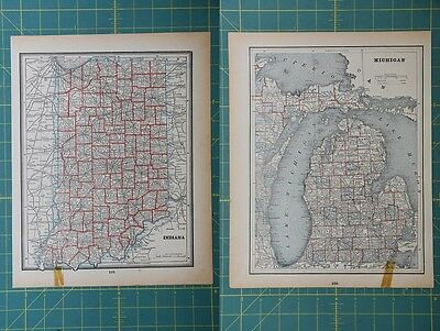 Indiana Michigan Vintage Original 1893 Columbian World Fair Atlas Map Lot