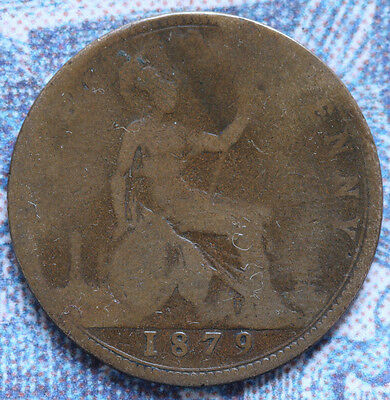 1879 Great Britain  Bronze PENNY VICTORIA Seated Britannia - Foreign Coin