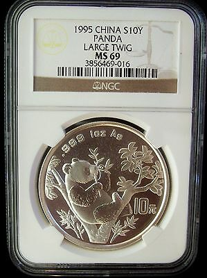 1995 China Panda Large Twig 10 Yuan NGC MS69 1 Ounce Silver Coin
