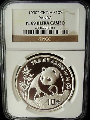 1990 China Panda 10 Yuan NGC PF69 Ultra Cameo 1 Ounce Silver Proof Coin