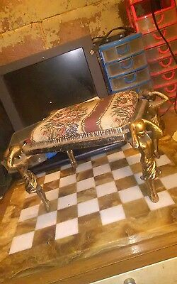 Servant? Mummy? Zombie? Vintage, Antique black/gold Metal Statue Footstool Bench