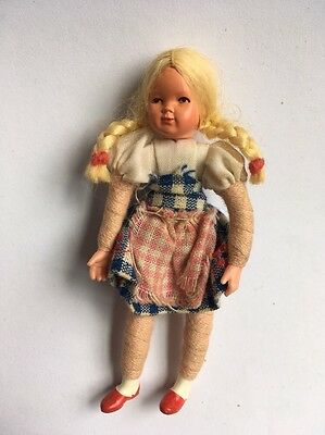 Vintage CACO Dollhouse Blonde Girl Doll Pigtails Dorothy Gingham Dress Flexible