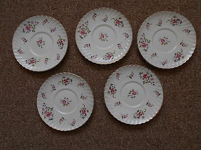 Royal Adderley fine bone china: five x 17 cm large saucers - Fragrance pattern