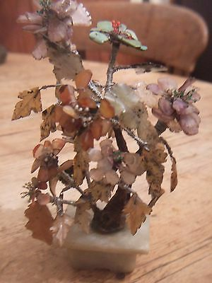 Antique Chinese Flowering Jade Tree With Carved Jade And Precious Stones Foliage